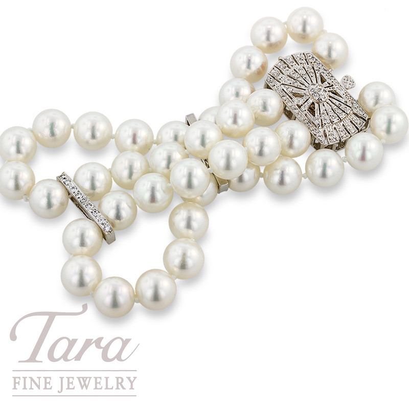 Double Strand Pearl Bracelet with Diamond Clasp & Dividers, .56 TDW