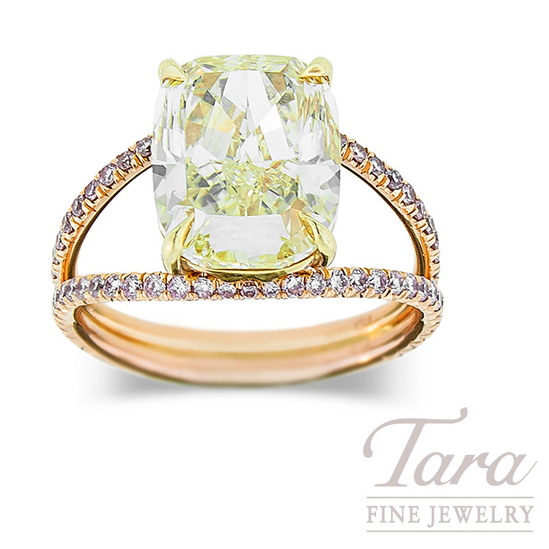 Fancy Yellow Diamond Ring in 18K Rose Gold, 5.01CT, Fancy Pink Accent Diamonds, .46 TDW