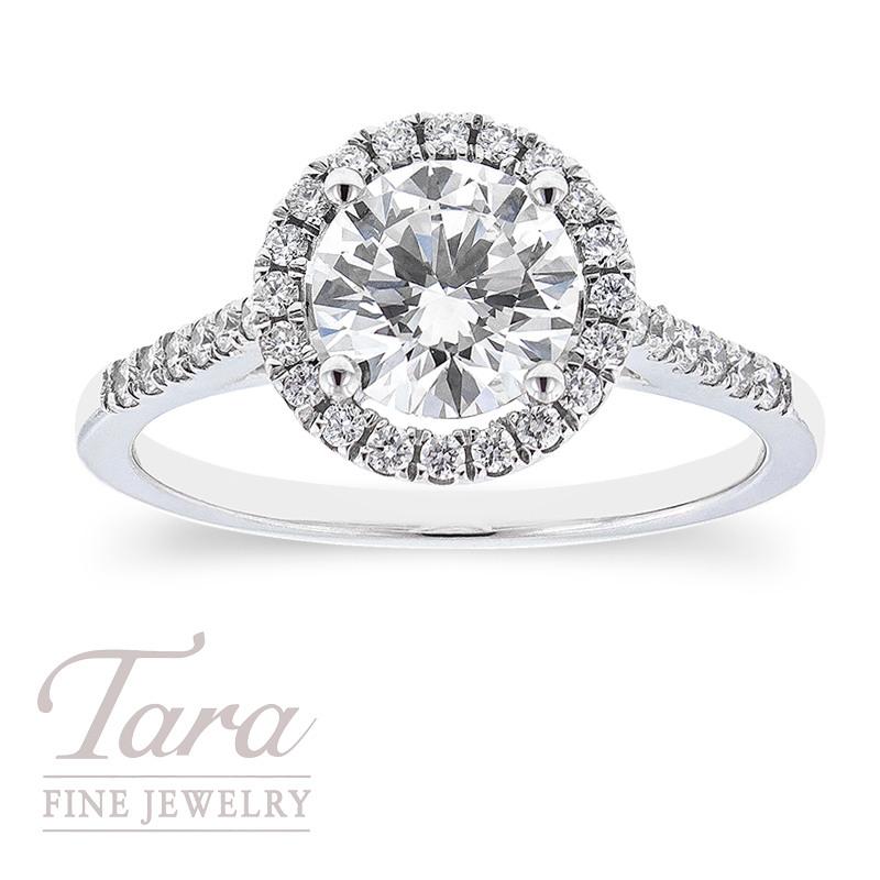 Forevermark Engagement Ring in 18k White Gold 1.05CT Center, .25TDW Band