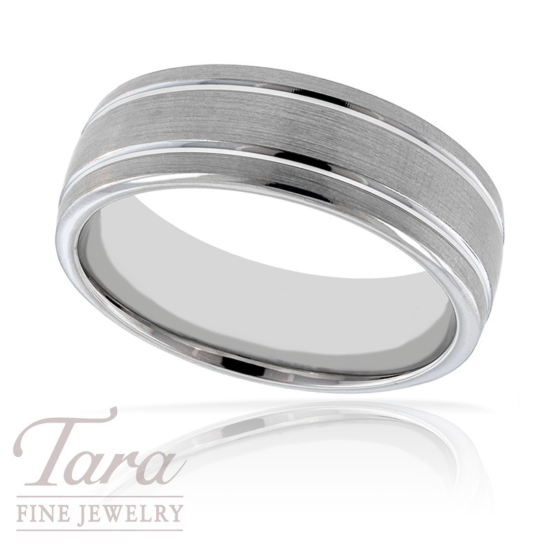 Men's Wedding Band in 18K White Gold, 12.4 Grams