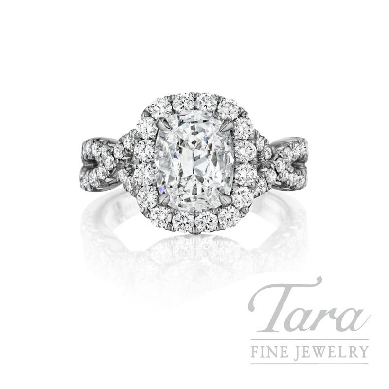 Henri Daussi 18K White Gold Diamond Ring, .93CT Cushion, .80TDW