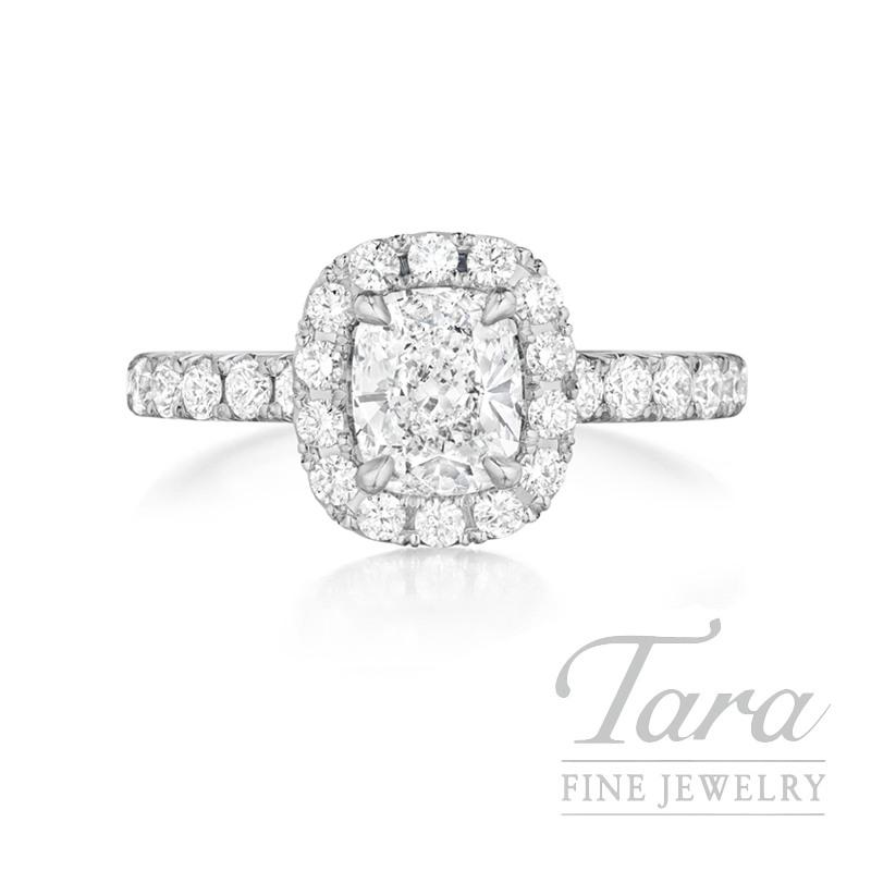 Henri Daussi 18K White Gold Diamond Ring, 1.01CT Cushion, 1.15TDW