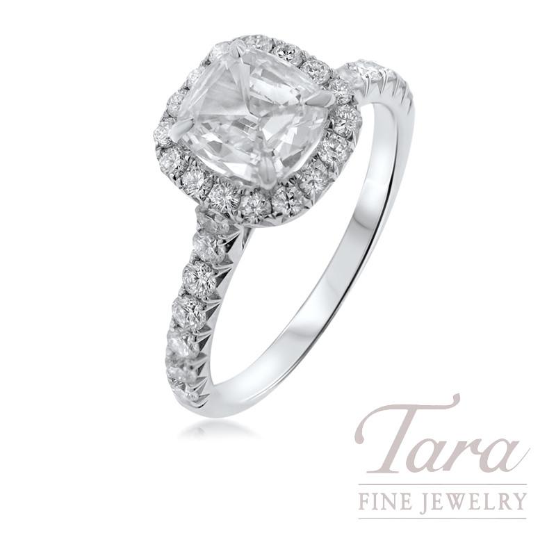 Henri Daussi 18k White Gold Diamond Ring, 1.01CT Cushion Diamond, .67TDW