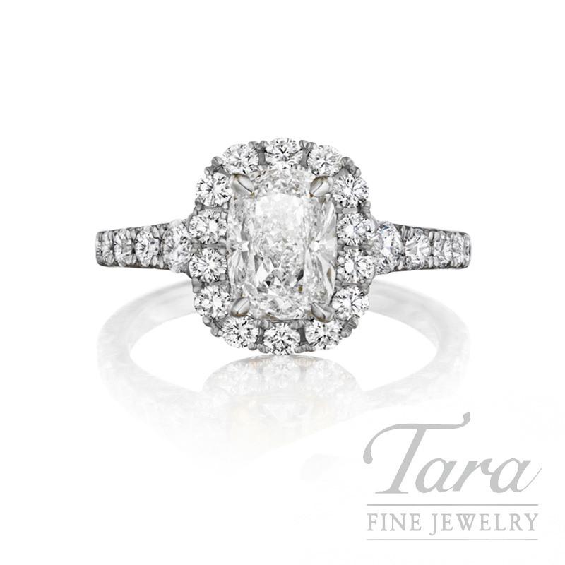 Henri Daussi 18K White Gold Diamond Ring, 1.16CT Cushion,  1.00TDW