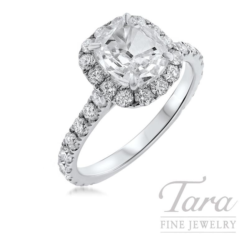 Henri Daussi 18k White Gold Diamond Ring, 1.26CT Cushion Diamond, 1.01TDW