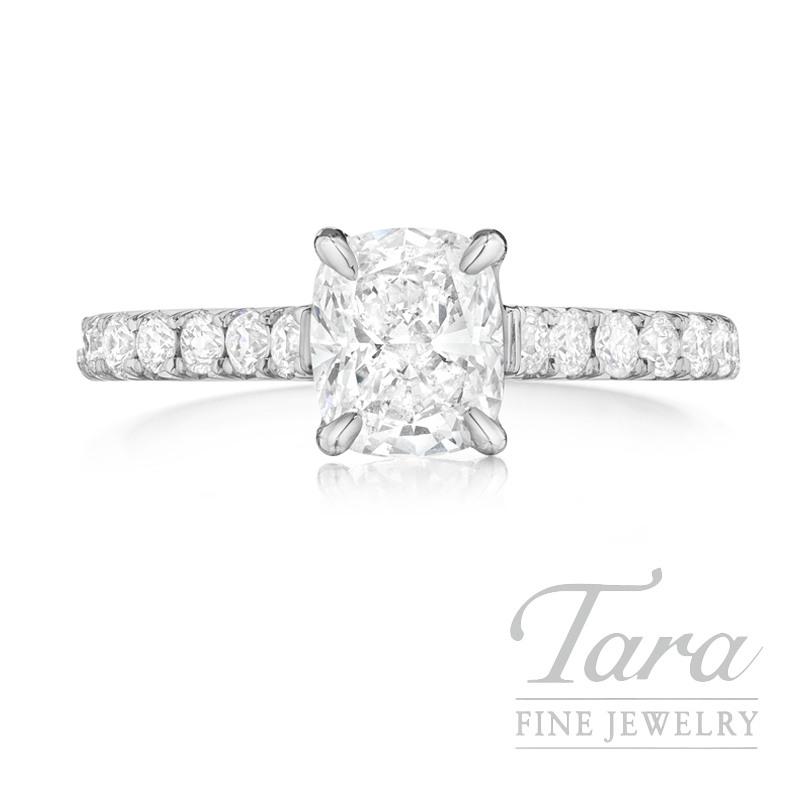 Henri Daussi Platinum Diamond Ring, .70CT Cushion, .43TDW