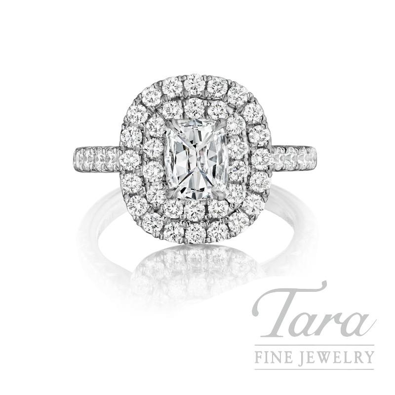 Henri Daussi 18K White Gold Diamond Ring, 1.03CT Cushion, 1.12TDW