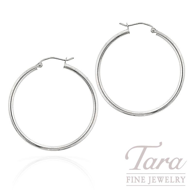 Hoop Earrings in 14K White Gold,  2.1 Grams