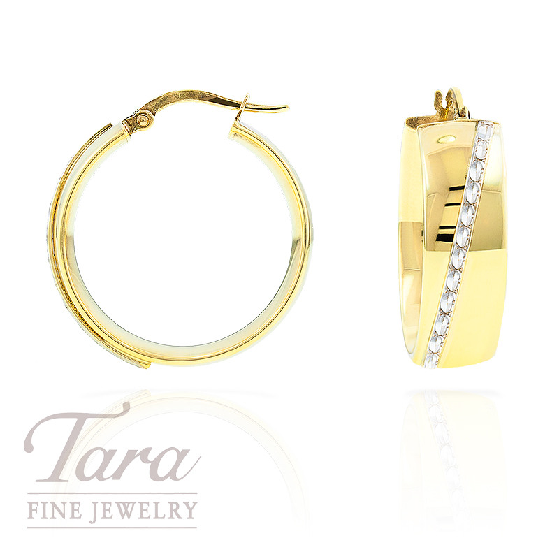 Hoop Earrings with White Gold Accent in 14k Y