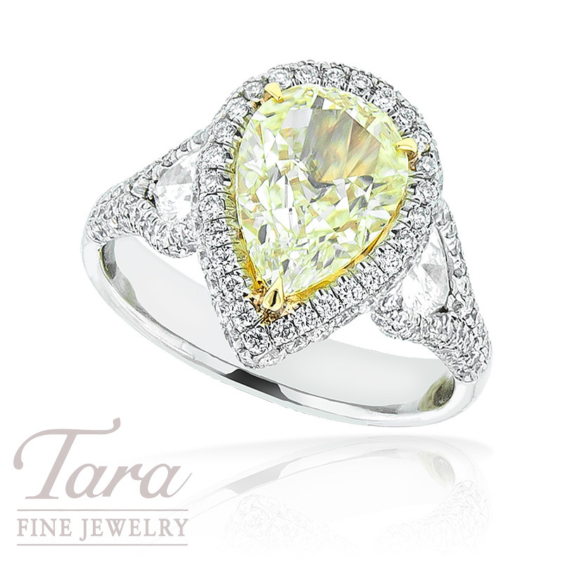 J.B. Star Diamond Ring with Fancy Yellow Pear Shaped Center and Pear Shaped Accents in Platinum