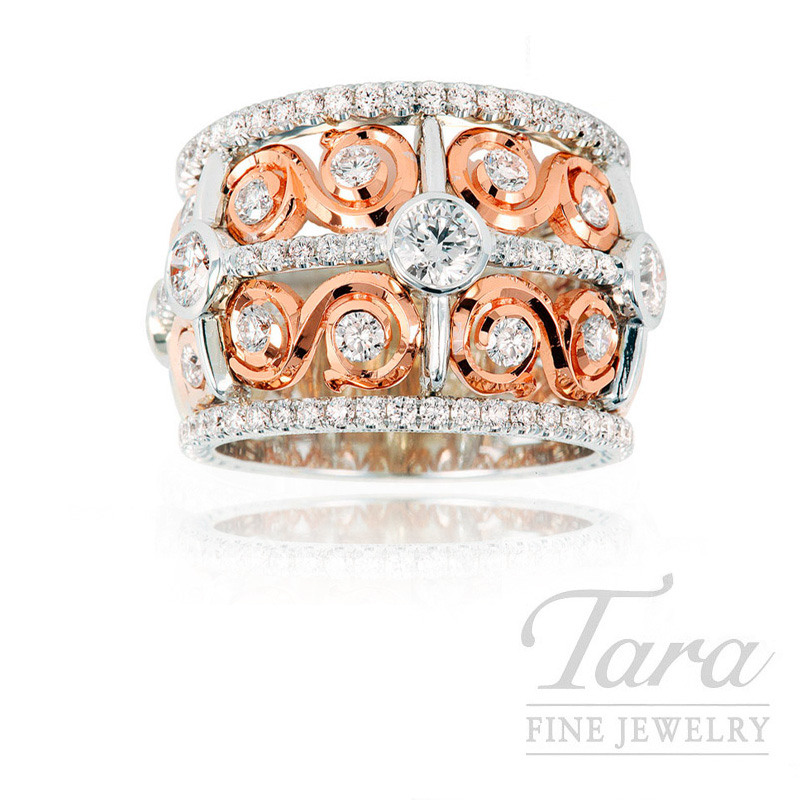 Jack Kelege Diamond Band in 18K White and Rose Gold 2.32 TDW, 12.6 grams