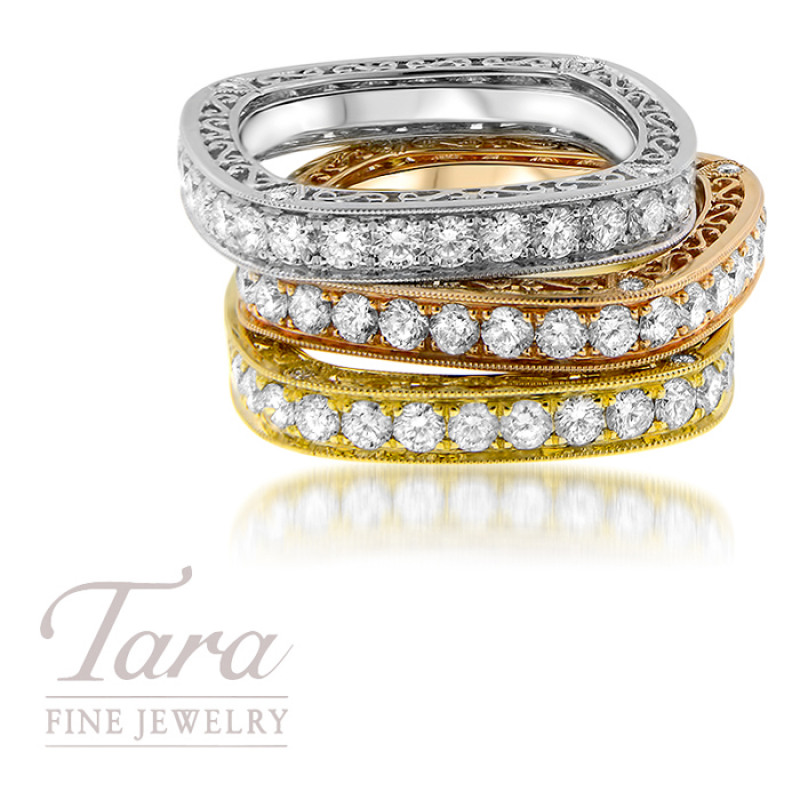 Ladies 18K Rose, Yellow, White Gold Diamond Stackable Band Band 1.12TDW