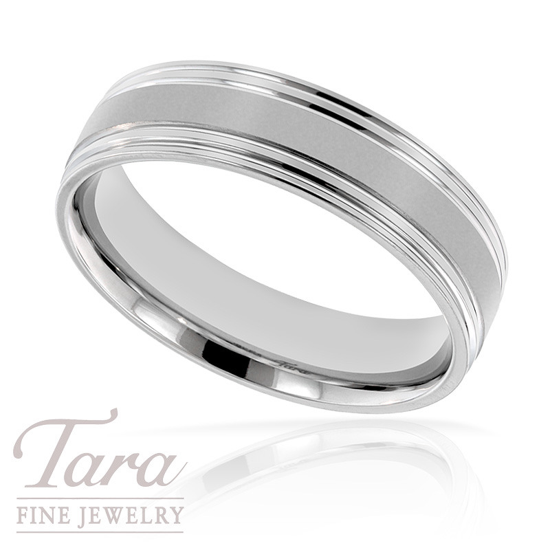 Men S Wedding Band In 18k White Gold 8 2 Grams Tara Fine Jewelry