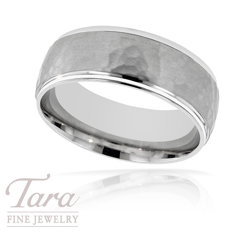 Mens Wedding Band In Textured 18K White Gold 117 Grams