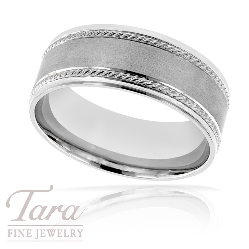 Men's Wedding Band in White Gold, 9.5 Grams, Size 10