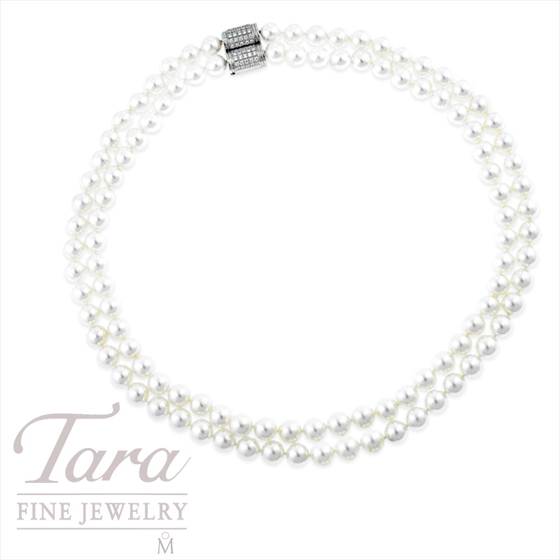 Mikimoto Double Strand Pearls with Diamond Clasp in 18k White Gold, .44tdw