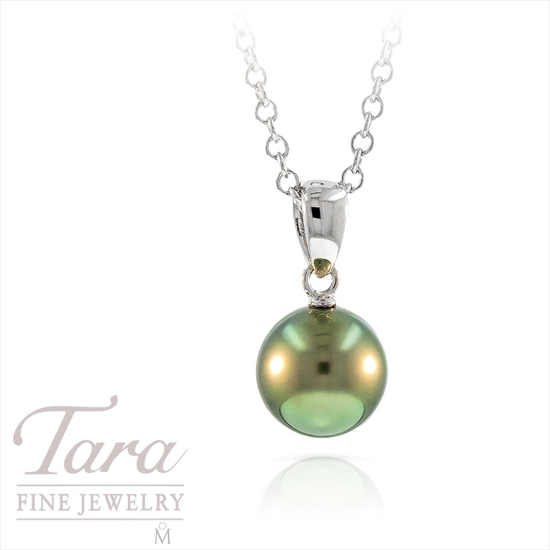 Mikimoto Black Pearl Pendant With Chain in 18k White Gold