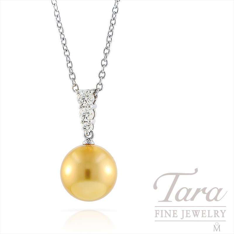Mikimoto Golden South Sea Pearl and Diamond Pendant in 18k White Gold, .25TDW