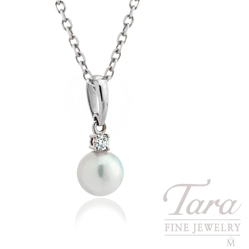 Mikimoto Pearl & Diamond Pendant in 18K White Gold, .05tdw