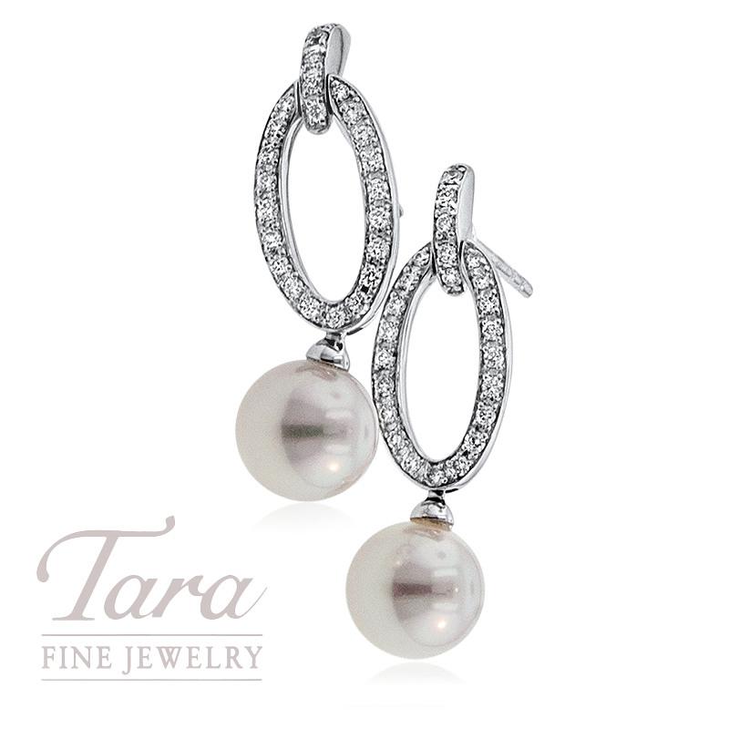 Mikimoto Diamond and Pearl Earrings