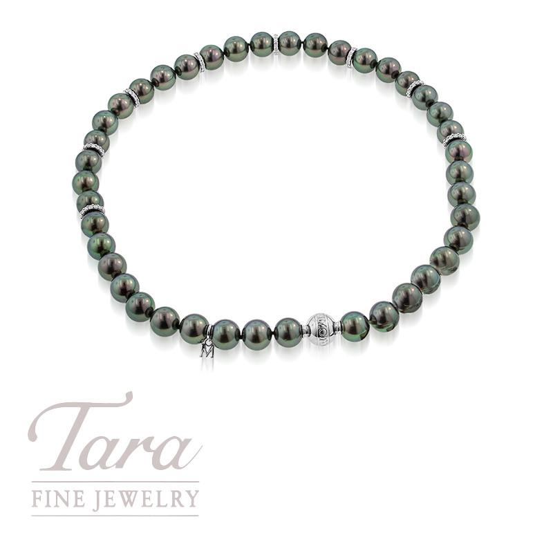 Mikimoto Tahitian Pearl Strand w/ 18K White Gold Diamond Clasp 1.85TDW