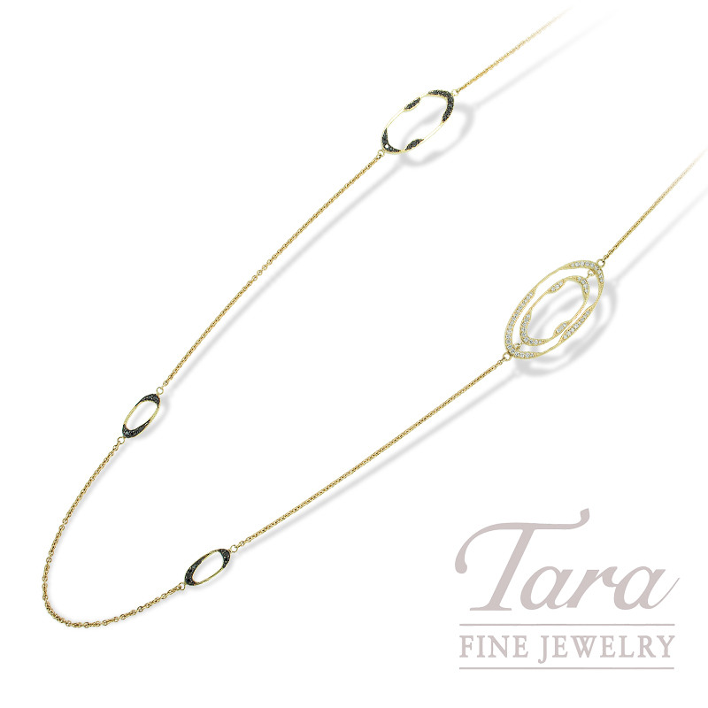 Norman Covan Diamond Necklace in 18K Yellow Gold .68TDW White, 1.00TDW Black Diamonds  37