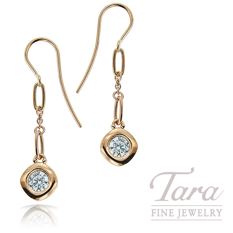 Norman Covan Diamond Dangle Earrings in 18K Rose Gold .64TDW