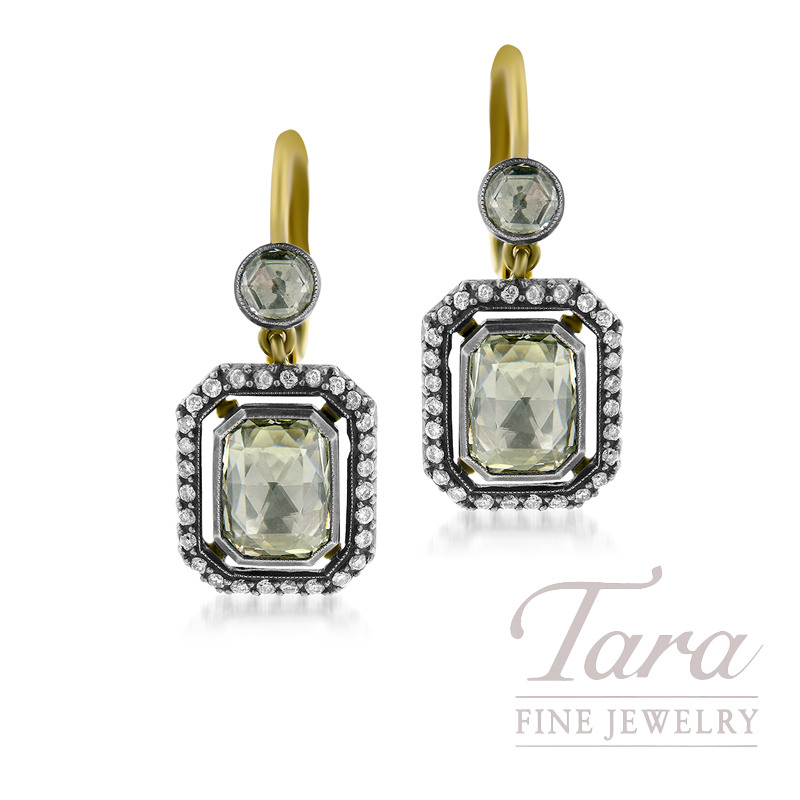 Norman Covan 18K Yellow Gold and Silver Diamond Earrings, 2.52TDW