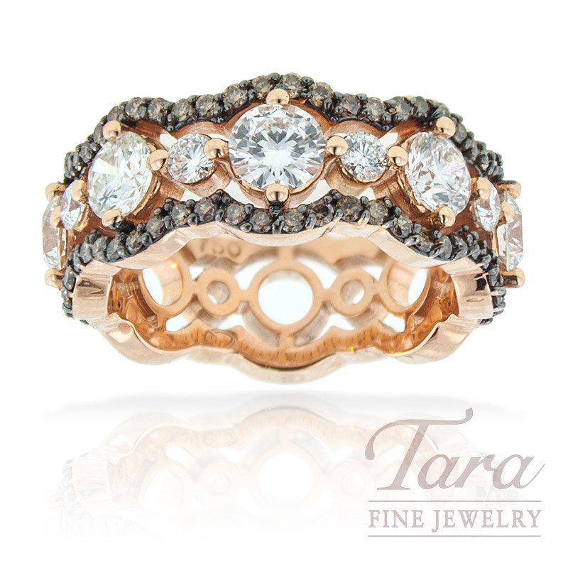 Norman Covan Cognac Diamond Band in 18K Rose Gold 1.80TDW White Diamonds .45TDW Cognac Diamonds