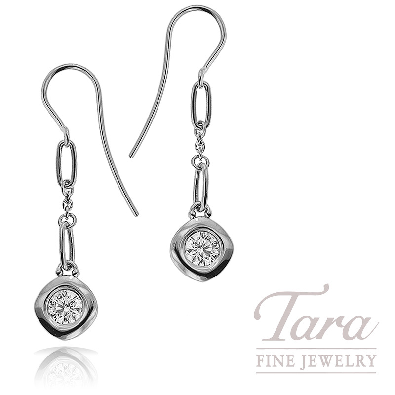 Norman Covan Dangle Diamond Earrings in 18K White Gold .64TDW
