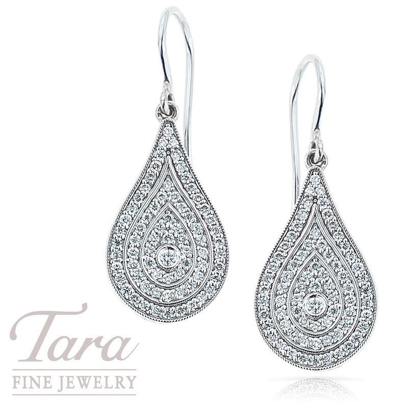 Norman Covan Diamond Tear Drop Dangle Earrings in 18K White Gold .77TDW