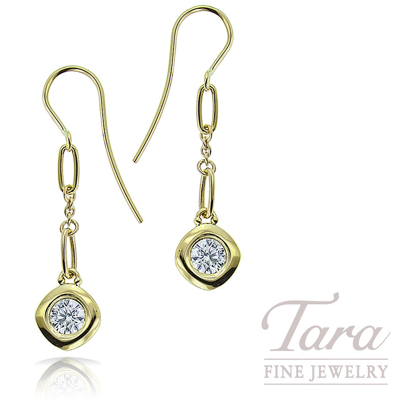 Norman Covan 18K Yellow Gold Diamond Dangle Earrings .64TDW