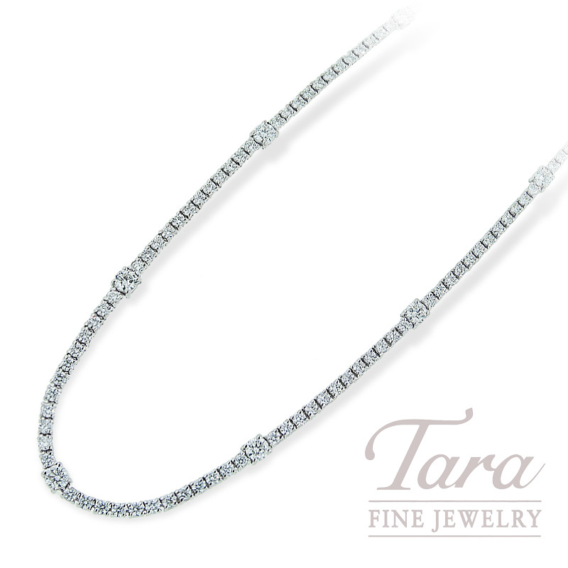 Norman Covan Diamond Necklace in 18K White Gold 135 Round Diamonds, 6.00TDW