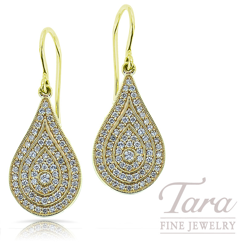 Norman Covan Tear Drop Dangle Diamond Earrings in 18K Yellow Gold .77TDW
