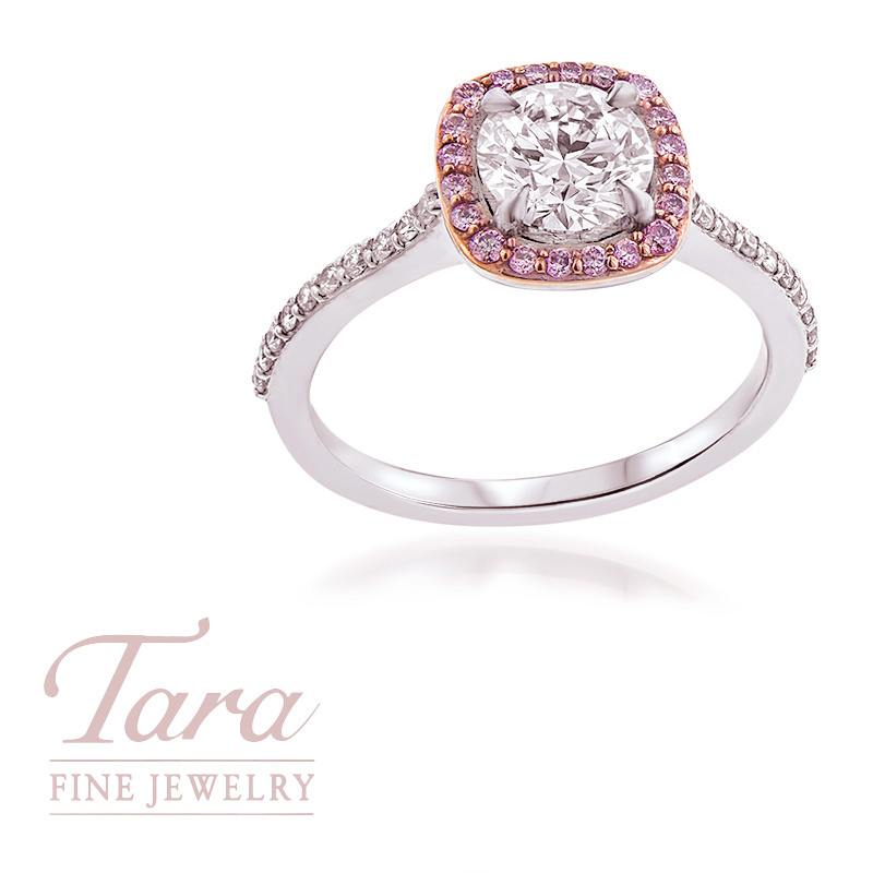 1.00CT Diamond Engagement Ring featuring Natural Fancy Pink Diamonds
