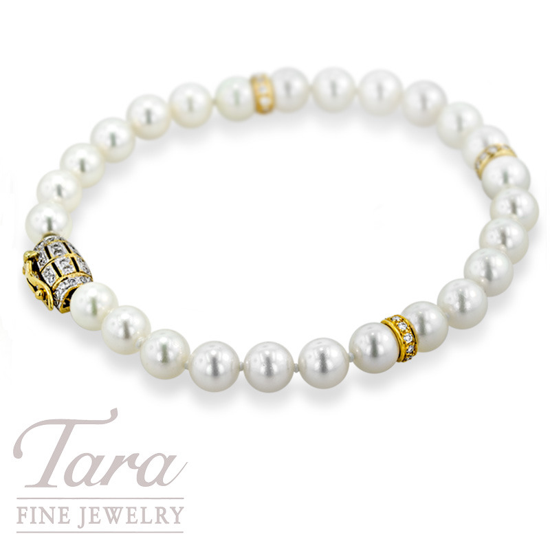 Pearl Bracelet With Diamond Clasp Accents