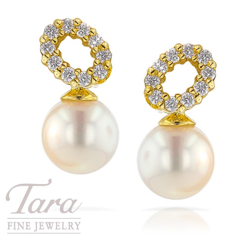 Pearl and Diamond Dangle Earrings, .34 TDW
