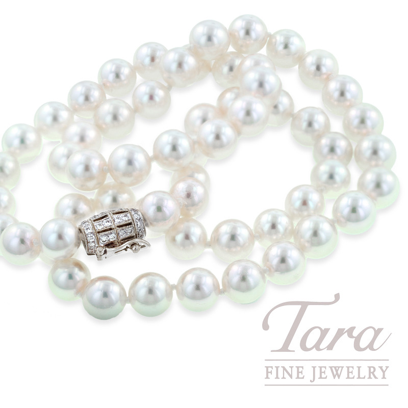 Pearl Strand with White Gold Diamond Clasp - Click For Available Sizes & Lengths!