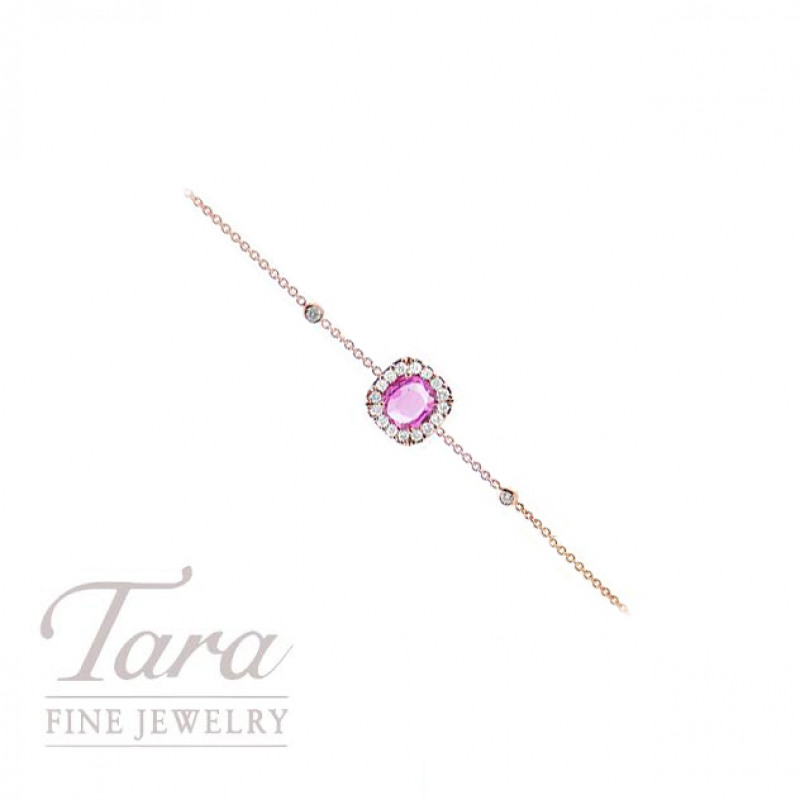 Pink Sapphire and Diamond Bracelet in 18K Rose Gold .93CT Pink Sapphire, .22TDW