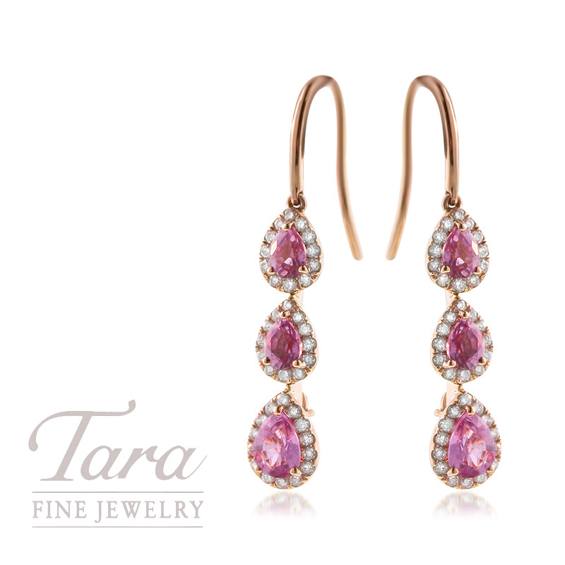 Pink Sapphire and Diamond Dangle Earrings in 18K Rose Gold 1.56TCW Pink Sapphire, .44TDW