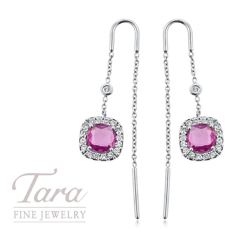 Pink Sapphire and Diamond Earrings in 18K White Gold .38TDW, 2.0TCW Pink Sapphire