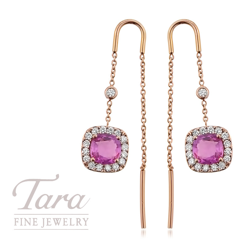 Pink Sapphire and Diamond Threader Earrings in 18K Rose Gold