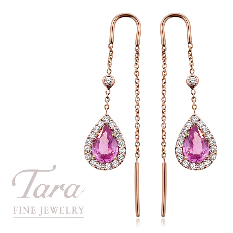 Pink Sapphire and Diamond Threader Earrings in 18K Rose Gold 1.50TCW Pink Sapphire, .40TDW