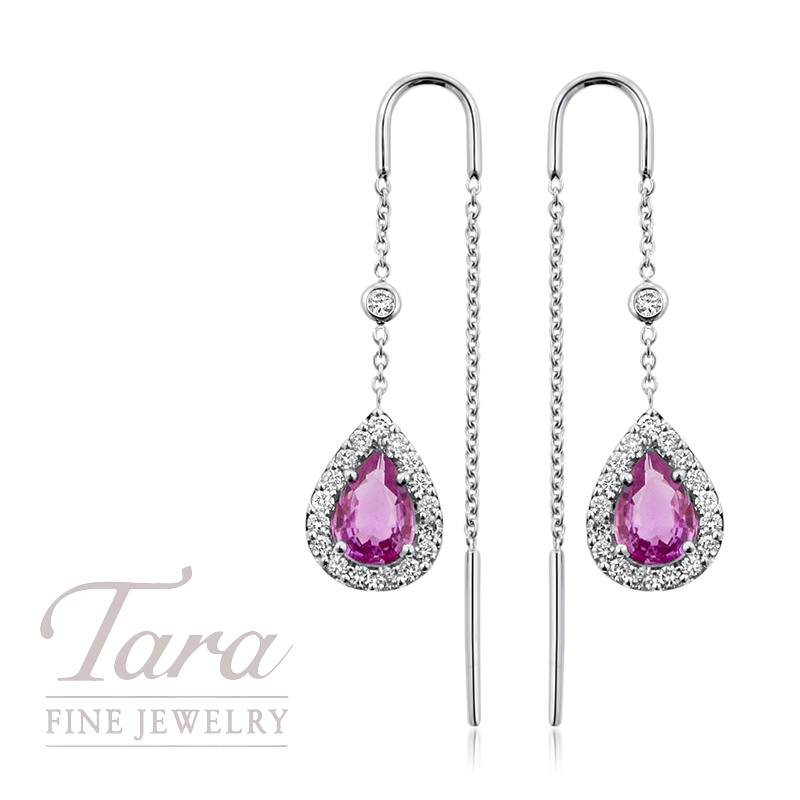 Pink Sapphire and Diamond Threading Earrings in 18K White Gold 1.50CT Pink Sapphire, .40TDW
