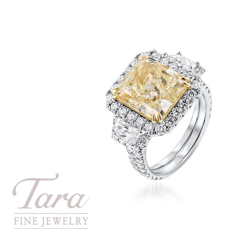 Platinum and 18K Gold Diamond Ring 6.48CT Fancy Yellow, 1.63TDW Round, .71TDW Trapezoid