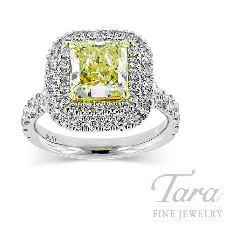 Fancy Yellow Diamond Engagement Ring in 18K White Gold and Platinum, 2.03ct Center Diamond  & .90 TDW, 9.2G