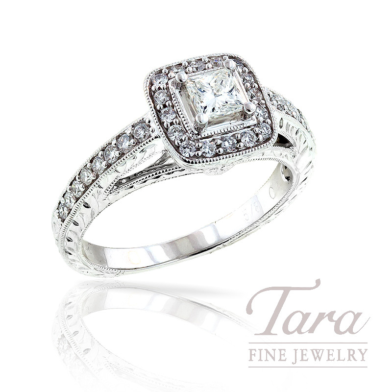 Diamond Engagement Ring in 14K White Gold, .35 TDW.