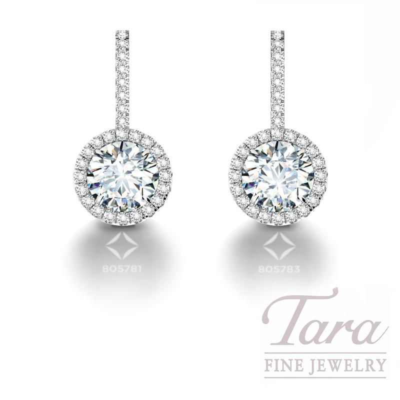 Forevermark Halo Drop Diamond Earrings in 14k White Gold 1.30TDW