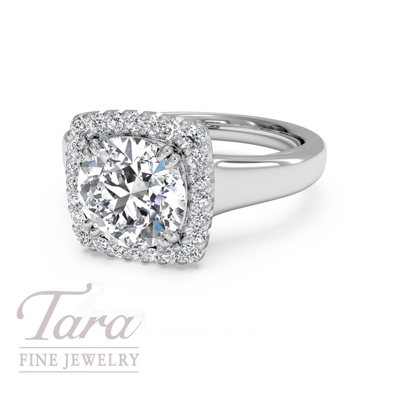 Ritani Bella Vita Diamond Engagement Ring in 18K White Gold .14TDW (Center Stone Sold Separately)