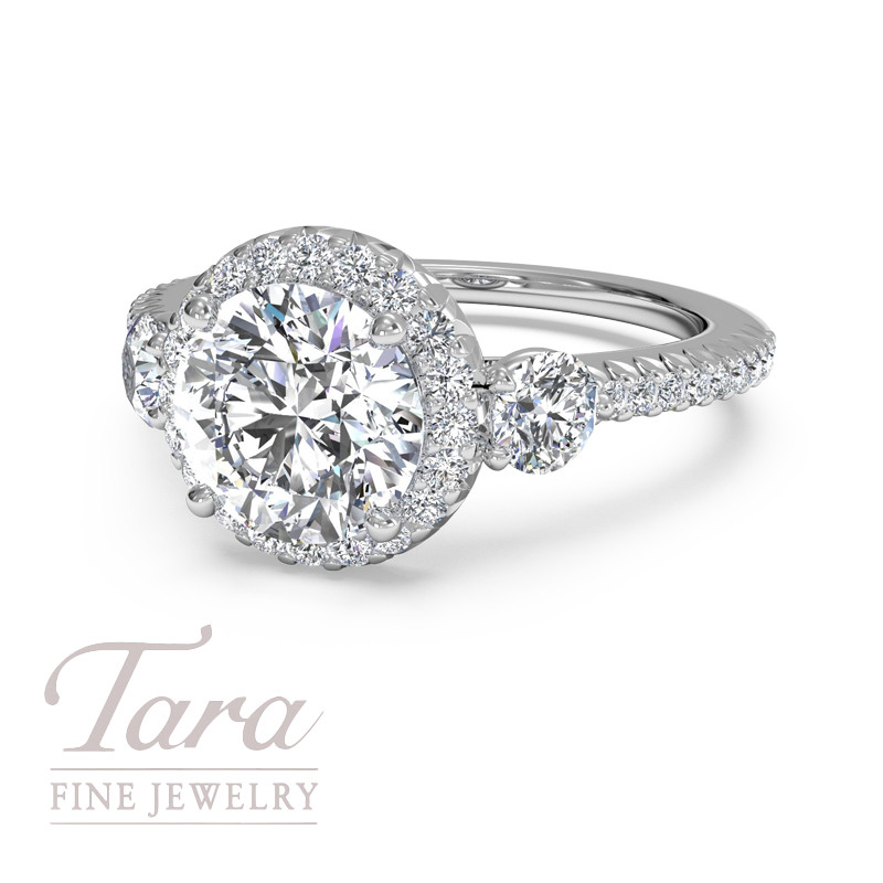 Ritani Bella Vita Diamond Engagement Ring  in 18K White Gold .47TDW (Center Stone Sold Separately)
